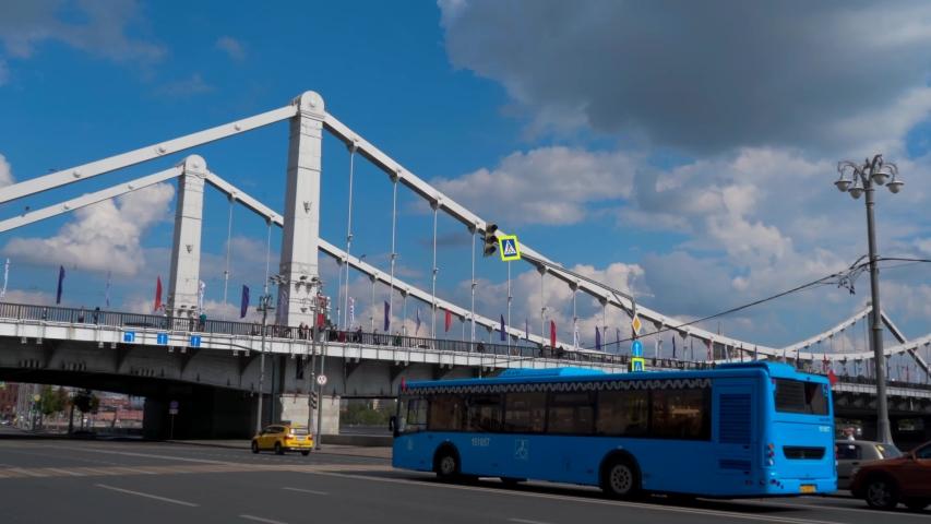 09/09/2019. Moscow, Krymsky bridge, traffic, pedestrians | Shutterstock HD Video #1036847762