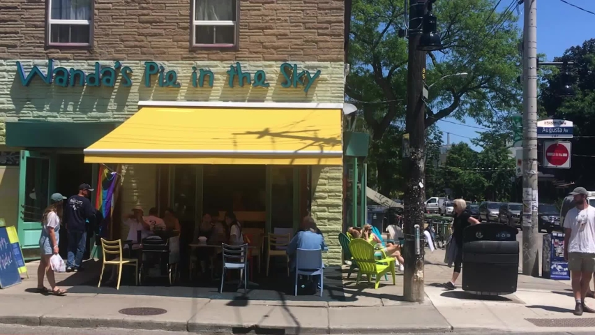 Toronto , Ontario / Canada - 06 01 2019: Many customers at Wanda's Pie In The Sky, Kensington Market, Toronto, June 2019 | Shutterstock HD Video #1036881422