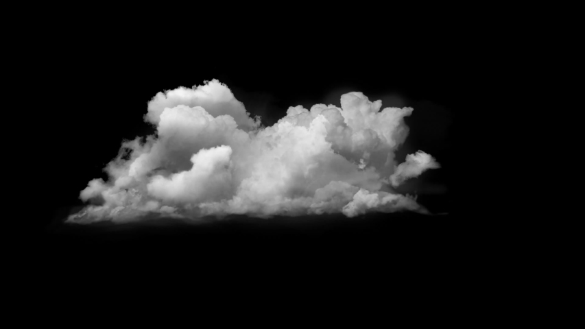 4K Cloud Footage Ready to use in your Composition, 3D Puffy fluffy white sky cloud, isolated realistic Cloud on black background