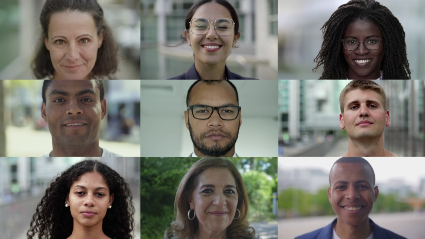 Group of various cheerful people of different nationalities. Collage of multiethnic male and female faces smiling at camera. Ethnicity variation concept | Shutterstock HD Video #1037106902