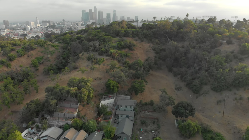 Aerial of Downtown LA from Elysian Park | Shutterstock HD Video #1037122622