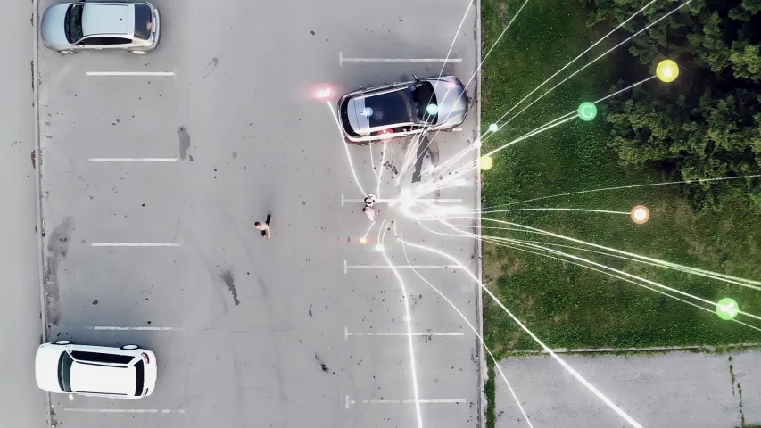 Young couple of business partners use smartphones Visualization of information lines flows are flying from smartphone into Global Network. Aerial drone shot | Shutterstock HD Video #1037136572