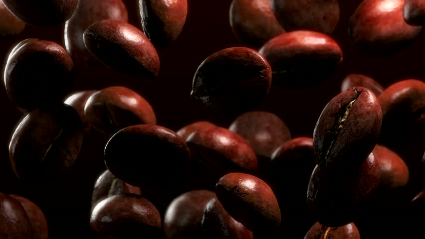 slow motion drop roasted coffee beans - repeatly move #10371542