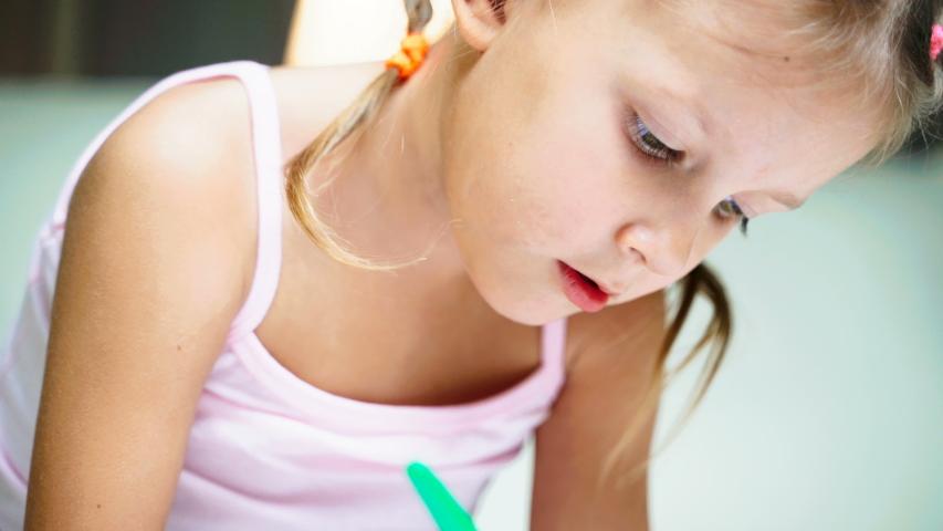 Little Girl Child Home Draws On Paper Kids Drawings   Shutterstock HD Video #1037314532