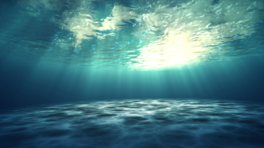 3D animation underwater of ocean waving, Beautiful sun shines through underwater | Shutterstock HD Video #1037315372