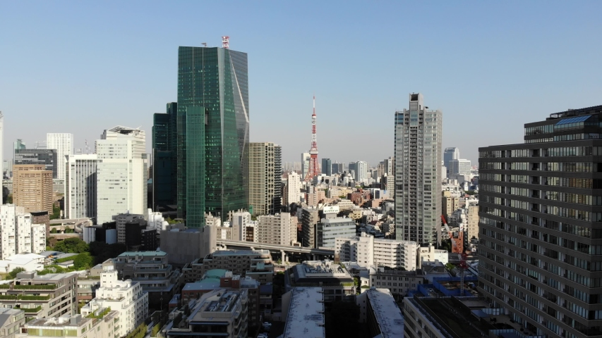 Tokyo Tower Japan aerial drone view city | Shutterstock HD Video #1037323232