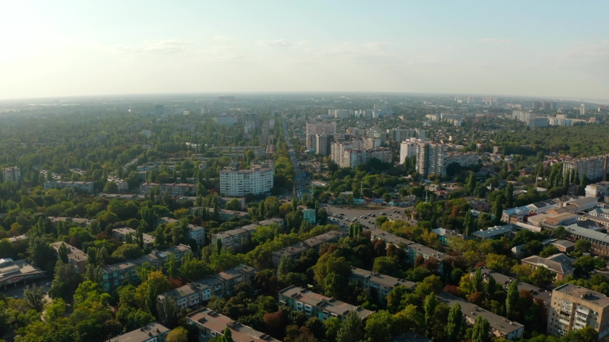 Flying over streets and moving vehicles Odessa, summer time, August 2019, Ukraine. | Shutterstock HD Video #1037370842