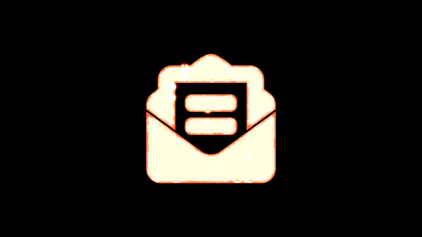Symbol envelope open text burns out of transparency, then burns again. Alpha channel Premultiplied - Matted with color black | Shutterstock HD Video #1037411282