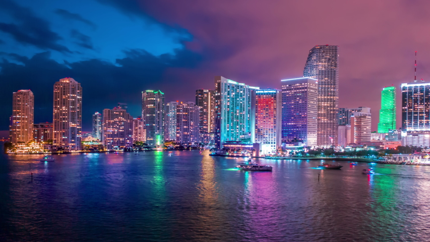 Amazing Miami downtown timelapse hyperlapse. Beautiful aerial shot of Miami city. Best Miami Aerial shot and top view of Miami downtown skyline. Drone flying over a city night lights in 4K | Shutterstock HD Video #1037419382