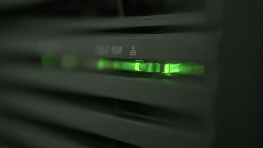 Flashing green server operation indicators | Shutterstock HD Video #1037442122