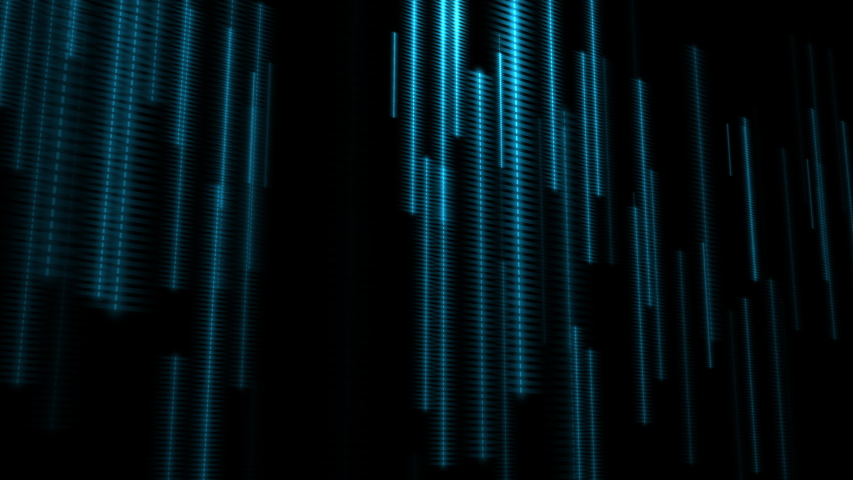 Turquoise 3D neon dotted strips falling down on black background. Futuristic data flow background, concept of information transfer and data communication. Seamless loop background  | Shutterstock HD Video #1037615042