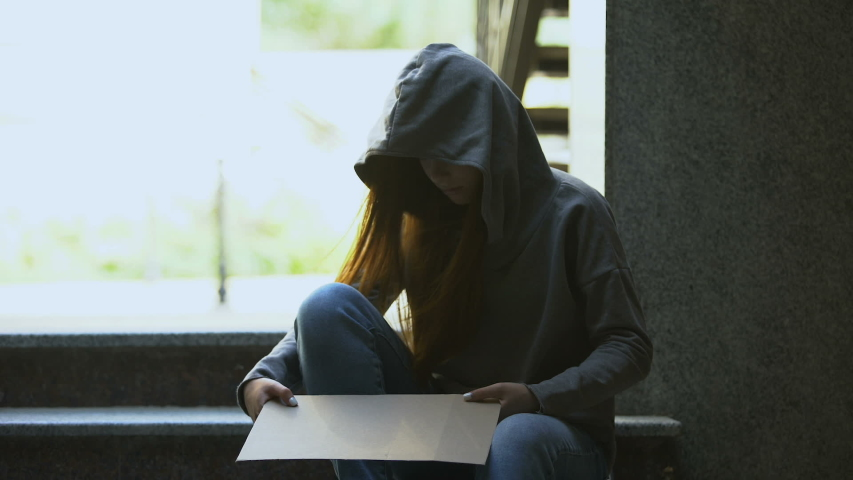 Homeless teenage girl in hoodie showing help sign on stairs, social insecurity | Shutterstock HD Video #1037744012