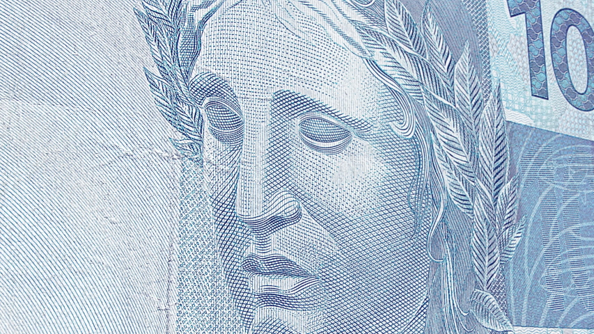 Brazilian effigy of republic symbol of the one hundred real banknote. Brazilian money, Real BRL. Close up animation.   Shutterstock HD Video #1037818862