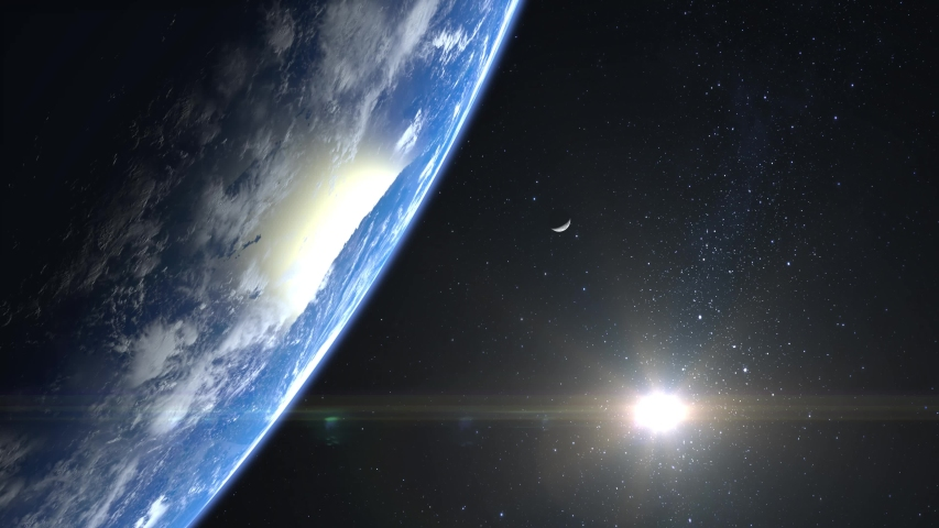 Earth and moon. View from space. Stars twinkle. Flight over the Earth. 4K. Sunrise. The earth slowly rotates. Realistic atmosphere. 3D Volumetric clouds. The sun is in the frame.   Shutterstock HD Video #1038046112
