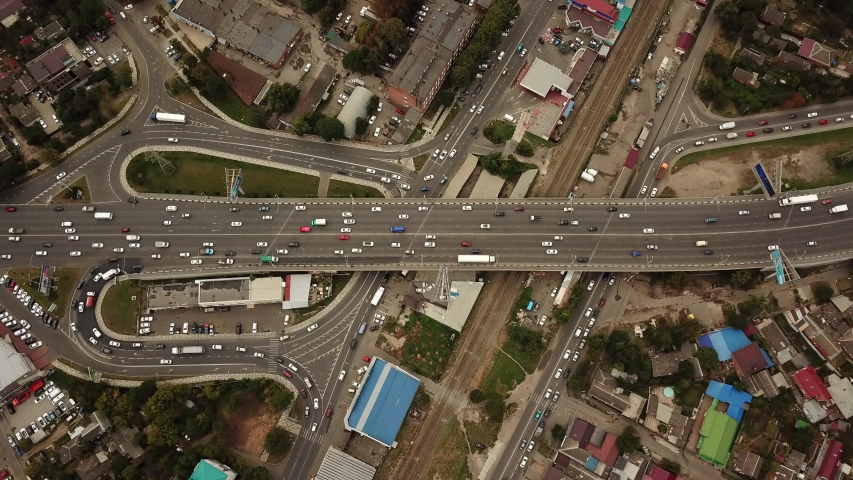 Drones Eye View - abstract road traffic jam top view, transportation concept 6 | Shutterstock HD Video #1038235262