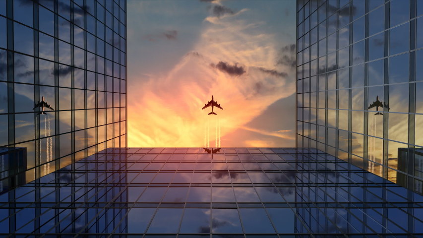 Airplane Flies Over Business Skyscrapers Against Sunset Clouds, Beautiful 3d Animation 4k, Ultra HD 3840x2160