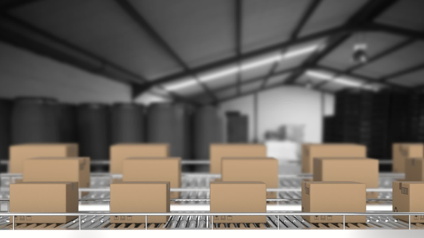 Animation of rows of cardboard boxes moving on conveyor belts #1038575552