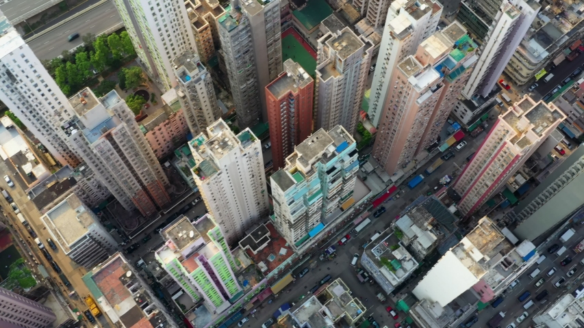 Yau Ma Tei, Hong Kong 25 September 2019: Top view of Hong Kong city | Shutterstock HD Video #1038609962