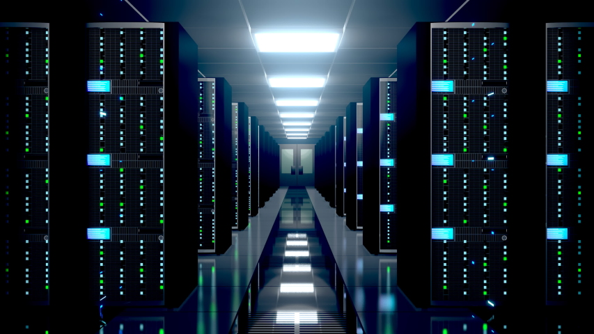 3D animation/ 3D rendering - 4K server room - data center - storage/ hosting/ fast Internet concept | Shutterstock HD Video #1038624122