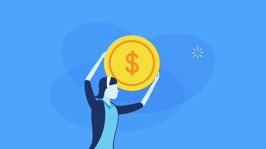 Businesswoman worker with coin money ,4k video animation   Shutterstock HD Video #1038634832