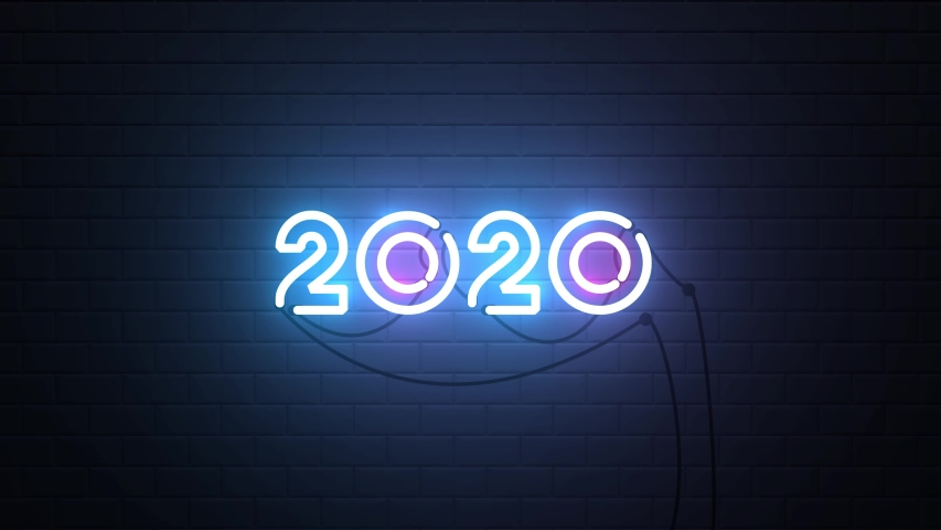 Happy New Year 2020 neon sign background new year resolution concept | Shutterstock HD Video #1038638912