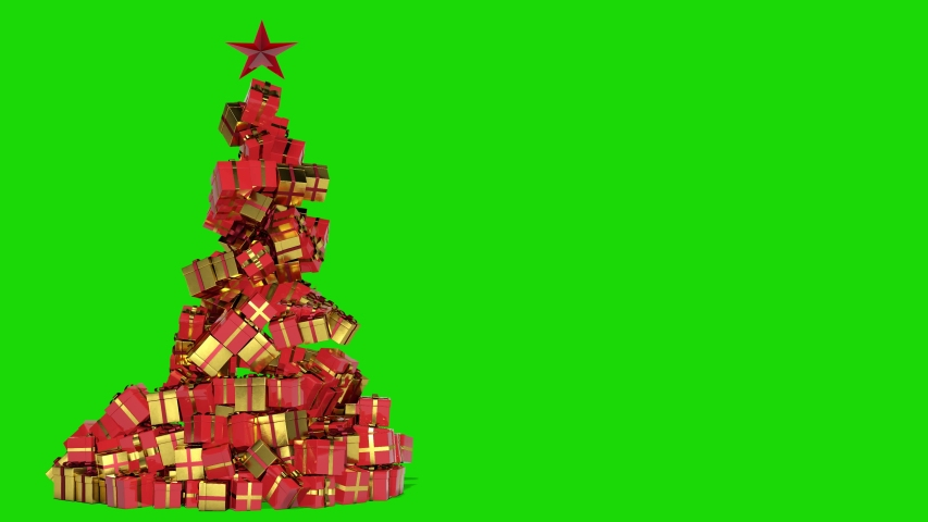 Christmas tree of gifts appearing. Merry Christmas and Happy New Year 2020 animation. Green screen. | Shutterstock HD Video #1038870302