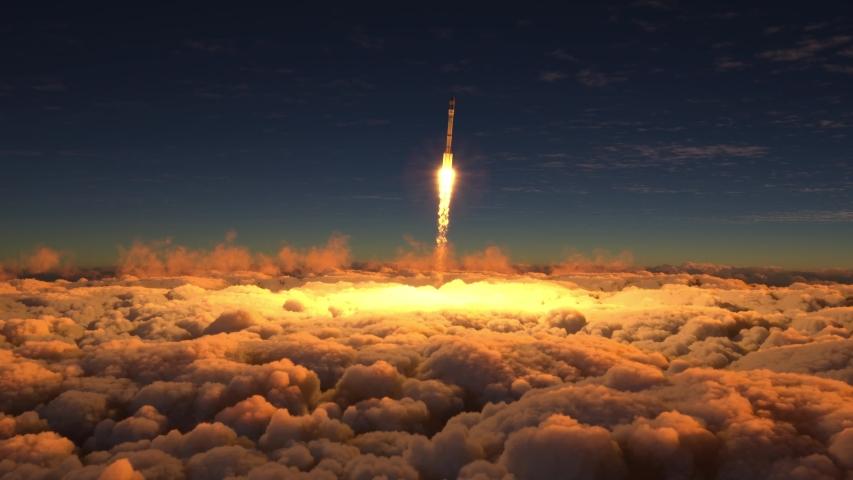Rocket flies through the clouds | Shutterstock HD Video #1038870842