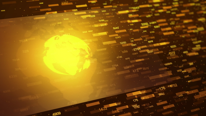 Global statistics screen with holographic rotating globe. Financial orange, yellow colored diagram or hologram. Geometric cyber graph visualization of network business situation. 4K Quality Animation | Shutterstock HD Video #1038929792