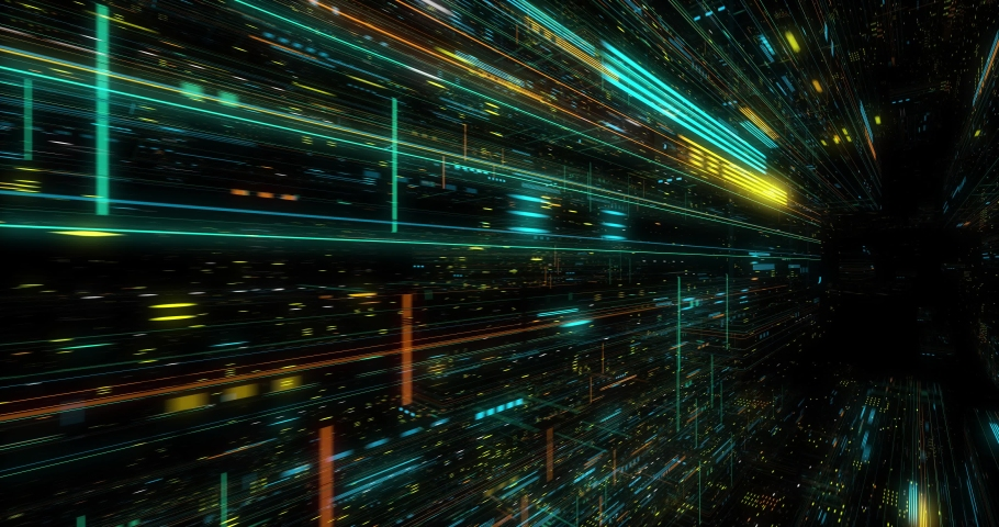 Seamless fly through of abstract circuitry with digital grid background, Data deep learning computer machine. AI artificial intelligence and ML machine learning concept. loop, 3D render | Shutterstock HD Video #1039053182