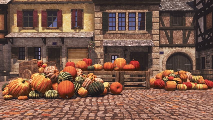 Country market with various colorful autumn pumpkins piled on small village square, food and decoration for Halloween and Thanksgiving. With no people fall season 3D animation rendered in 4K | Shutterstock HD Video #1039066172