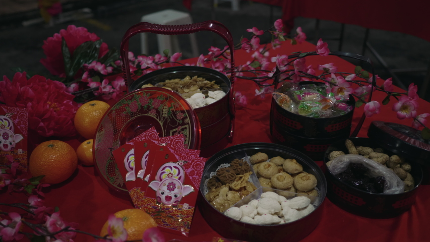 Chinese New Year Snack Decoration,Red packed, Biscuits | Shutterstock HD Video #1039101602