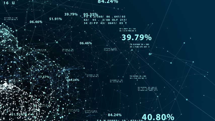 Beautiful 3d Animation of the Global Digital Network Growing Seamless with Numbers Flying Around in Abstract Cyber Space. Looped Business and Technology Information Concept. 4k Ultra HD 3840x2160. | Shutterstock HD Video #1039192892