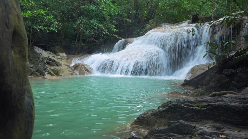 Erawan Waterfall (dolly shot), Kanchanaburi, Thailand | Shutterstock HD Video #1039457552