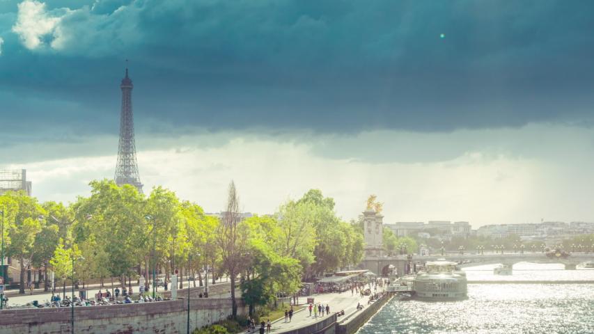 Hyperlapse, Alexander III bridge and Eiffel tower, Paris, France | Shutterstock HD Video #1039482722