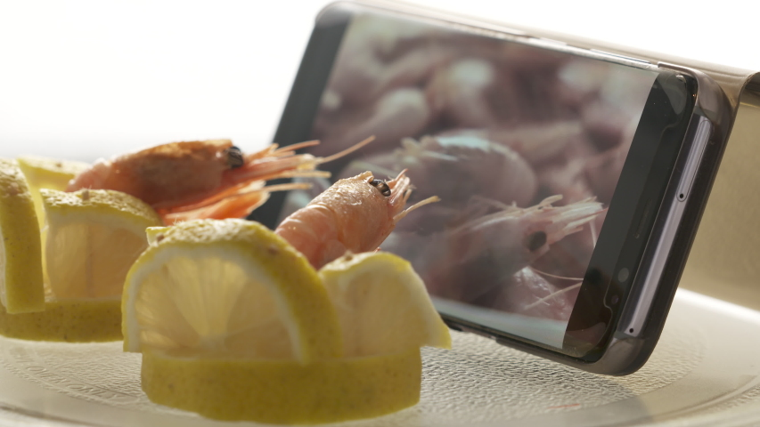 Two frozen prawns sitting in lemon chairs watching boiled shrimp recipe video on mobile phone screen.   Shutterstock HD Video #1039503872