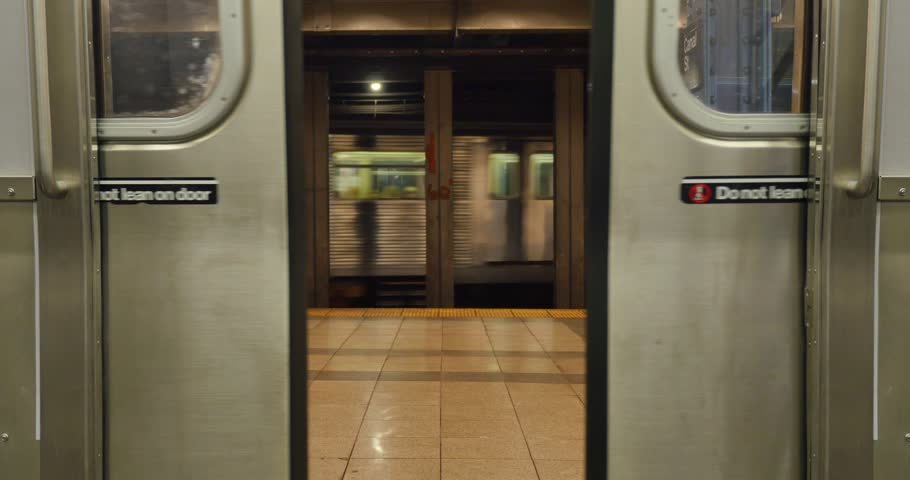 NEW YORK - CIRCA 2015 A Low Angle View Of The Doors Of A New York Subway Car Opening. Stock Footage Video 10395542 | Shutterstock & NEW YORK - CIRCA 2015 A Low Angle View Of The Doors Of A New York ...