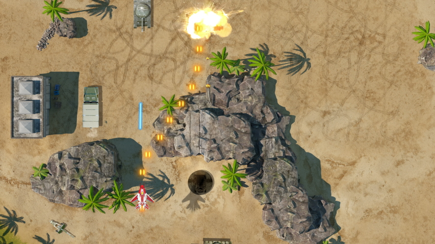 Plane Battles Video Game Imitation. Airplane War 3d Game. Top View. The Plane Flys Over The Jungle And Fights With The Enemy