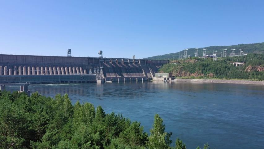 Hydroelectric dam view, aerial shot   Shutterstock HD Video #1039956122