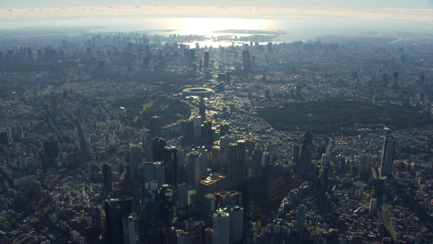 Tokyo, Japan circa-2018. High altitude aerial view of Tokyo. Shot from helicopter with RED camera. | Shutterstock HD Video #1040155412