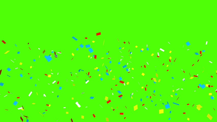 Colorful isolated confetti particles on green screen perfect for compositing into your cgi scene. 4K