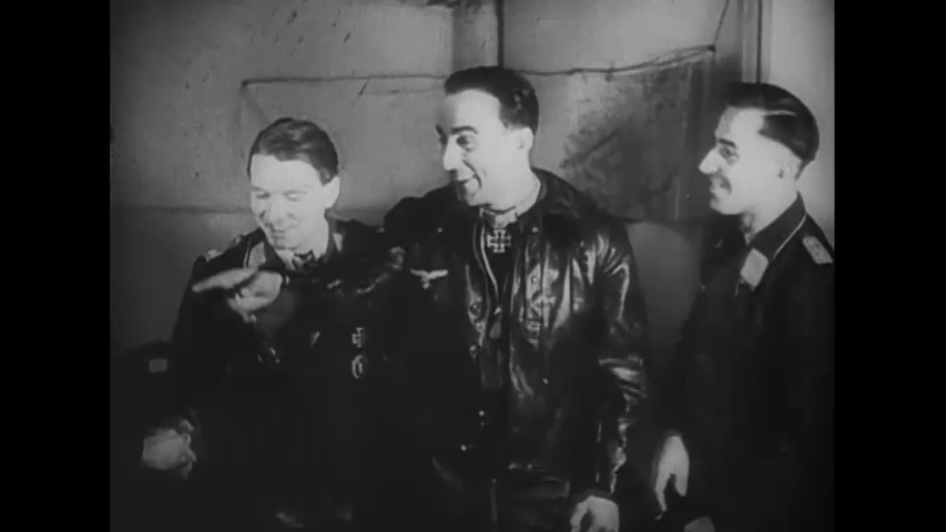 CIRCA 1940s - Two German war heroes are shown being awarded during World War 2 in this German propaganda film