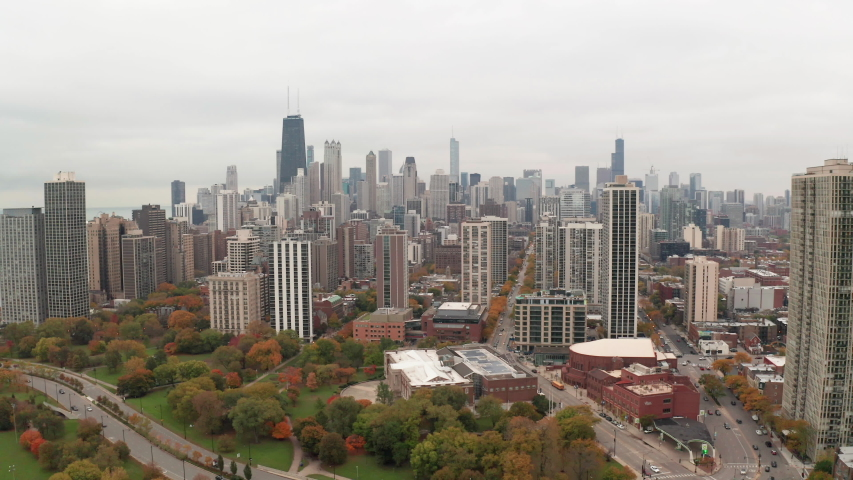 Chicago downtown skyline aerial fall foliage | Shutterstock HD Video #1040655062