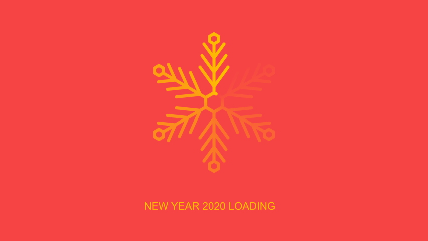 Flat transparent white snowflake as loader indicator with new year 2020 loading word, loop 4k stock video footage, motion graphic animation design element on red and black background, alpha channel | Shutterstock HD Video #1040680442