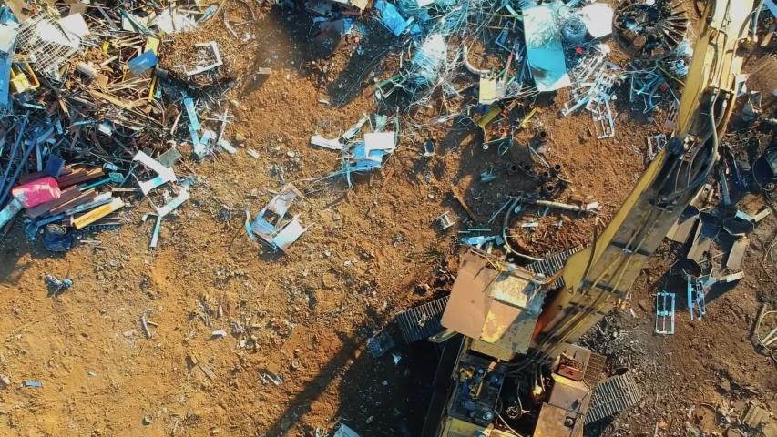 Steel junk yard recycle process | Shutterstock HD Video #1040684372