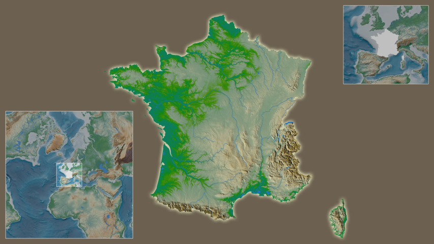 France area framed and extracted from the global physical map in the van der Grinten I projection with animated oblique transformation | Shutterstock HD Video #1040959232