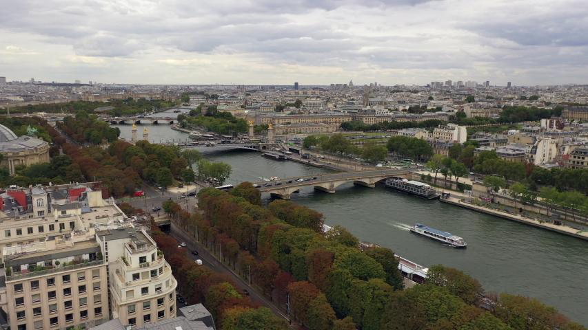 Paris skyline aerial with Seine river | Shutterstock HD Video #1040978822