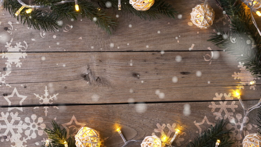 Christmas decoration on wooden table , snowflakes falling and copy space for celebration , new year , thanksgiving concept background | Shutterstock HD Video #1041018782