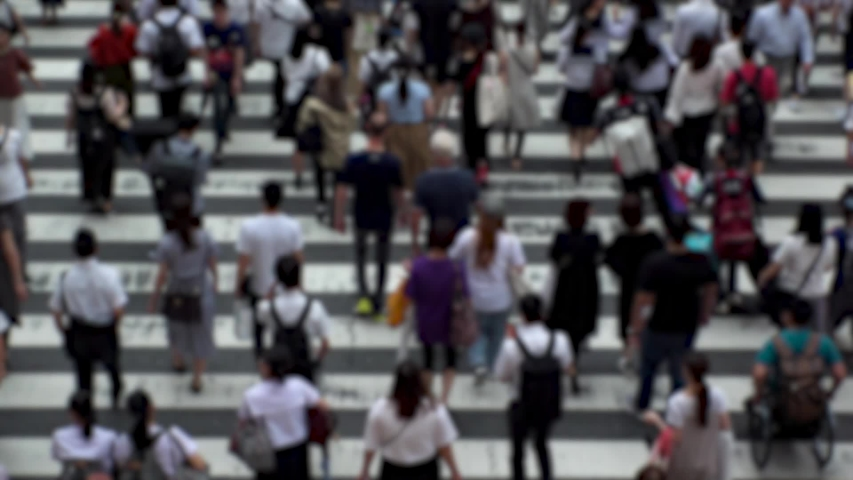 UMEDA, OSAKA, JAPAN - CIRCA SEPTEMBER 2019 : Aerial blurred high angle view of zebra crossing near Osaka train station. Crowd of people at the street. Shot in busy rush hour. Wide slow motion. | Shutterstock HD Video #1041098752