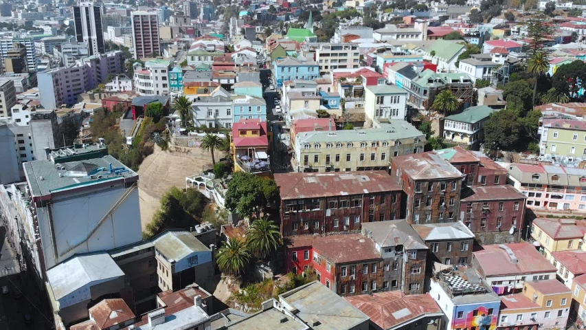 City on the hills, Colorful Houses, cottages (Valparaiso, Chile) aerial view | Shutterstock HD Video #1041121312