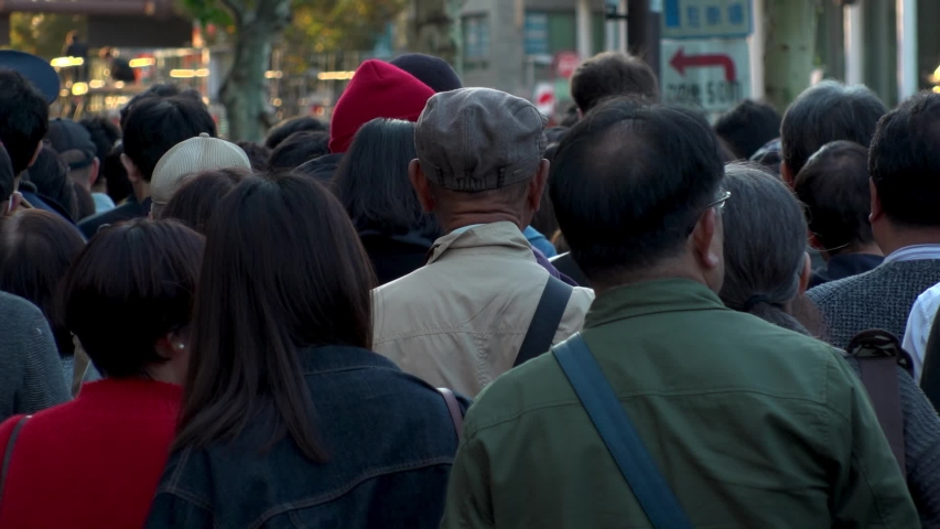 TOKYO, JAPAN - 10 NOVEMBER 2019 : Back shot of unidentified huge crowd of people walking down the street. Japanese people and lifestyle concept. Slow motion shot. | Shutterstock HD Video #1041139192